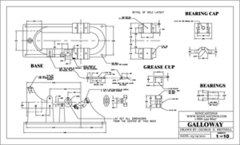Machine Drawings for the Galloway 1/6 Scale Model Hit and Miss Engine