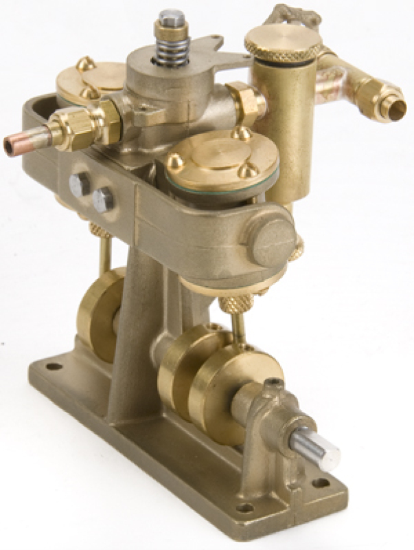 Clyde twin cylinder oscillator with lubricator 11mm bore/stroke - fully assembled engine