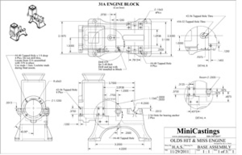 Machine Drawings for the Olds 1/4 Scale Model Hit and Miss Engine