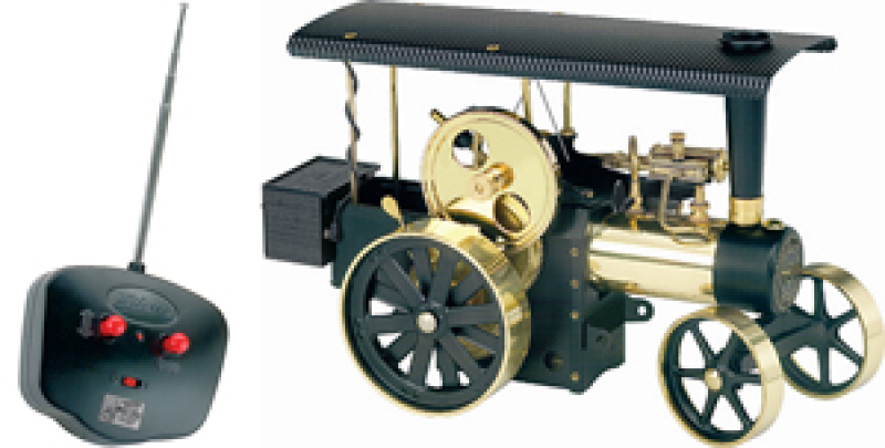 Wilesco D496 Steam Traction Engine Black-Brass with RC control