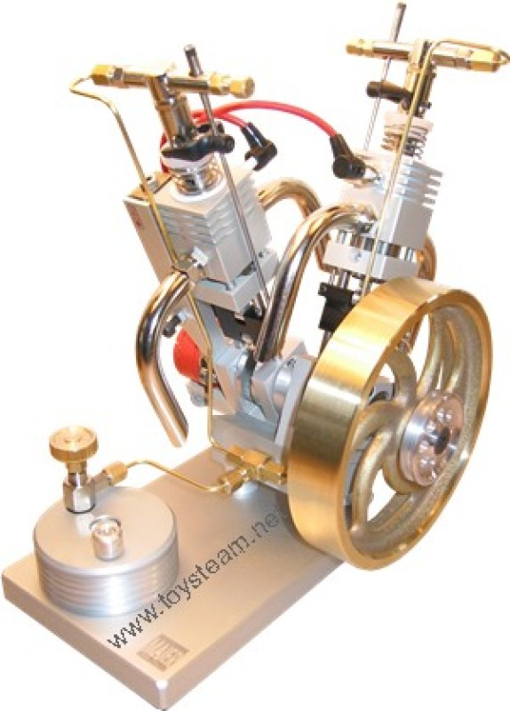 Butane Gas Powered Engine - Double Cylinder V2 with Piezo Ignition MM5