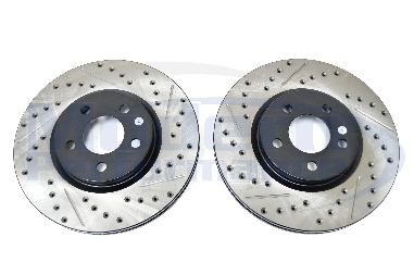 StopTech Drilled & Slotted Rotors (Front Pair), 01-10 PT Cruiser