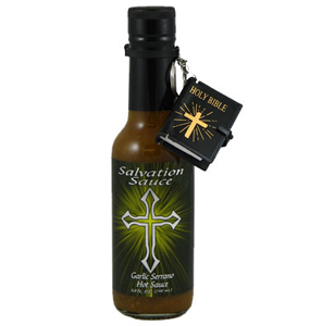 Danny Cash's Garlic Serrano Salvation Sauce with mini Bible