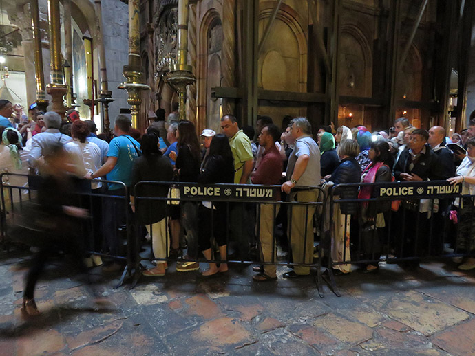 Pilgrims line up to enter the Tomb of Jesus