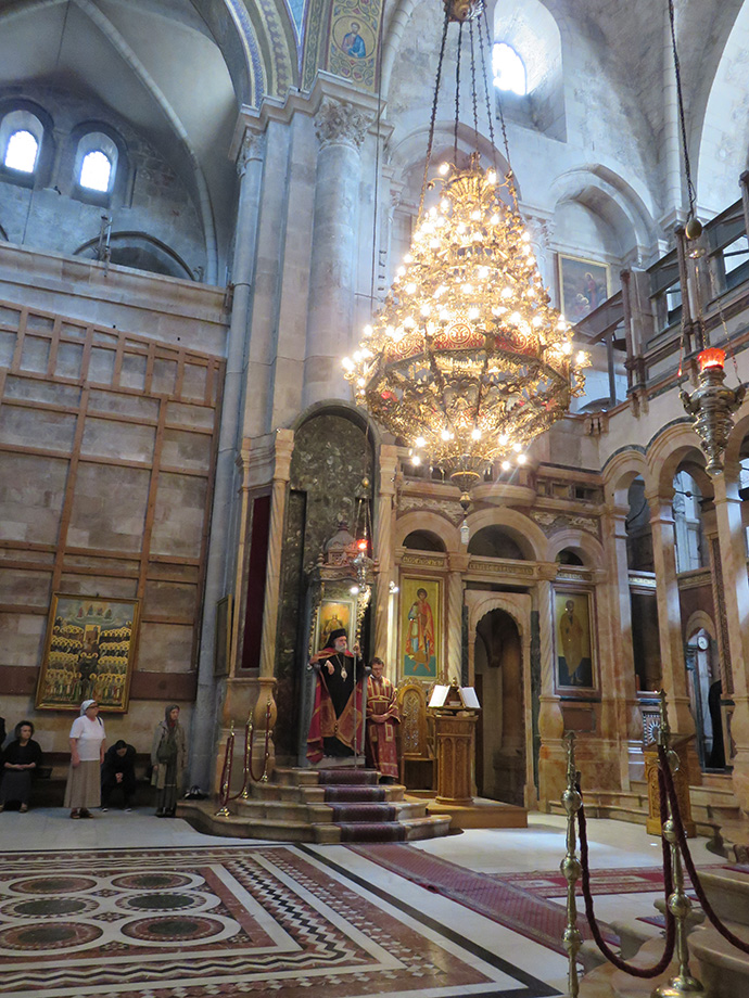 The bishop's throne in the main church of the Church of the Holy Sepulchre