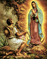 The Virgin Mary appearing to Saint Juan Diego