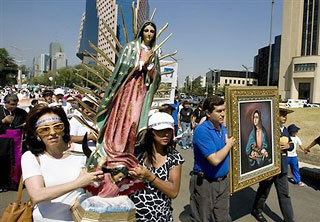 Pro Life march in Mexico City at the Guadalupe Cathedral