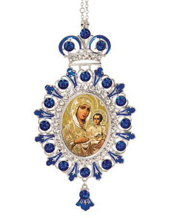 Blue Ornament - Gold Madonna
