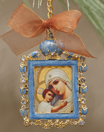 Christmas Icon Ornaments Blue Rectangle Icon Ornament  Monastery