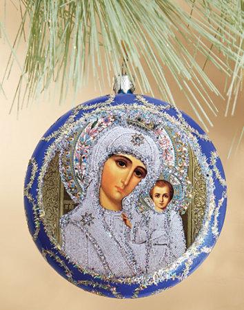 Blue icon medallion ornament