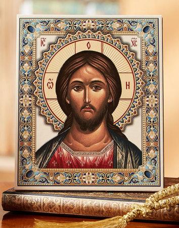 Christ Embossed Leatherette Icon