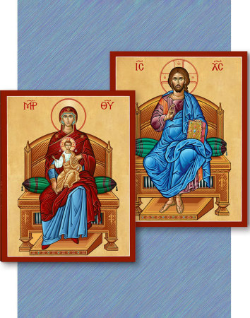 Discounted Icon Pair - Christ Enthroned and Virgin Enthroned