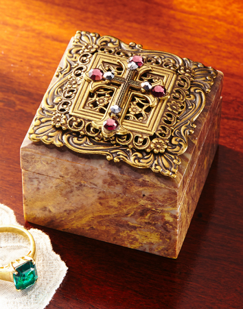 Crystal Cross Stone Box