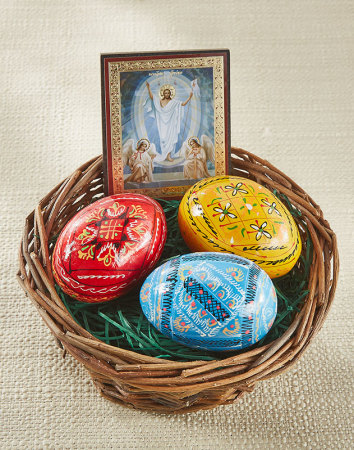 Easter Egg Basket with Resurrection Icon