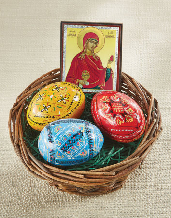 Easter Egg Basket with St Mary icon