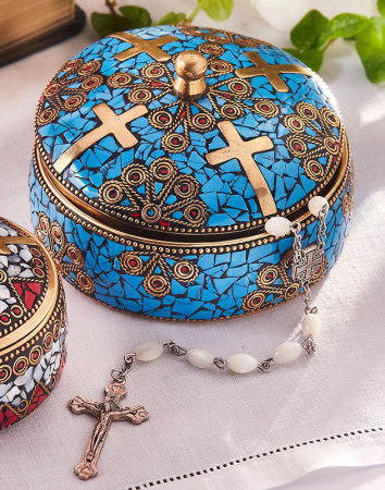 Enamelled  Brass Keepsake Box - Large