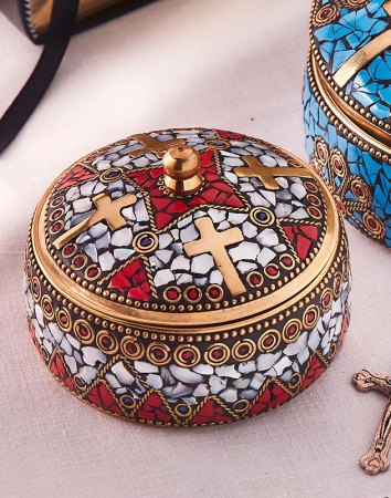 Enamelled  Brass Keepsake Box - Medium