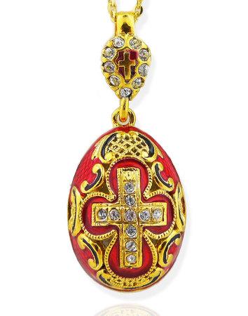 NEW Enameled Egg Pendant With Cross
