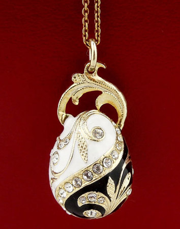 White and Jet Faberge Style Egg Pendant