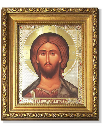 Face of Christ Gold-Framed Icon with Crystals