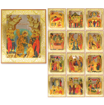 Festal Set of Embossed Russian Icons
