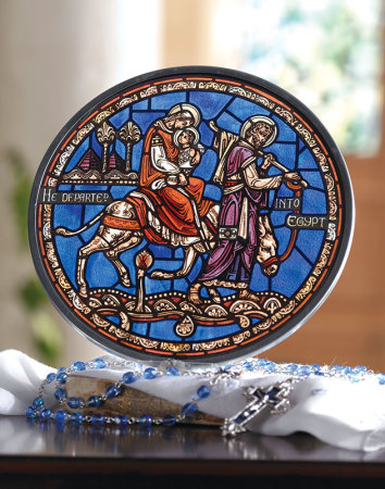 Flight into Egypt Glass Suncatcher