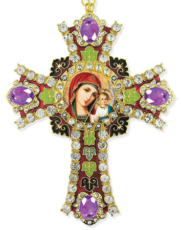 Madonna and Child Jeweled Cross