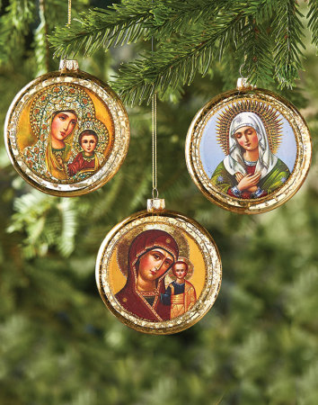 Glass Madonna Ornament trio