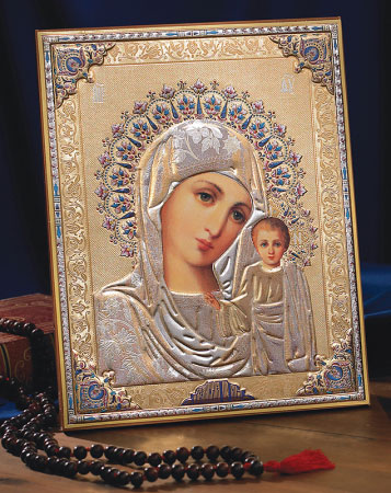 Embossed Icon of the Madonna and Child
