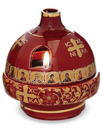 Greek Ceramic Votive Lamp, Red