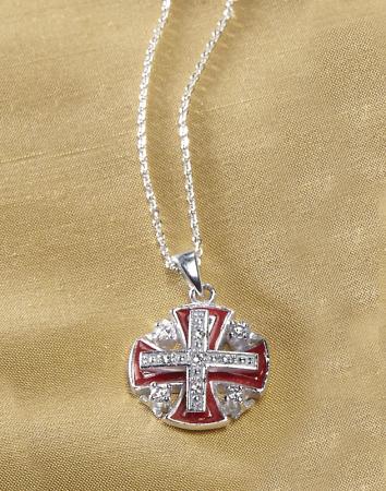 Jerusalem Silver Cross red