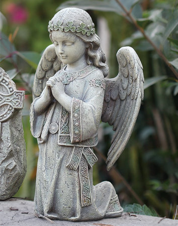 Kneeling Celtic Angel Garden Statue