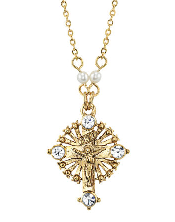 Ornamental Crucifix with pearled chain