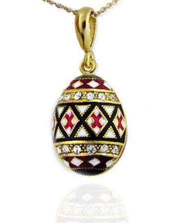 Ornate Enameled Egg Pendant