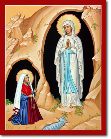 "Our Lady of Lourdes Original Icon 20"" tall"