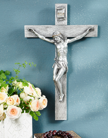 Pewter Style Wall Crucifix