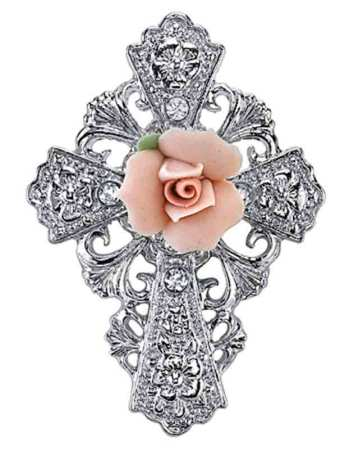 Crosses and pendants rose cross broach monastery icons rose cross brooch aloadofball Image collections