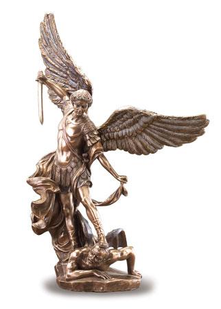 "Saint Michael Figurine 10"" bronzed"