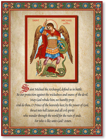 photograph about St. Michael the Archangel Prayer Printable identified as Saint Michael Prayer Plaque