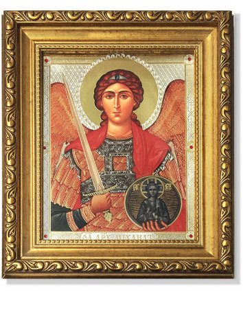 Saint Michael the Archangel Gold-Framed Icon with Crystals