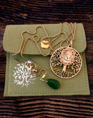 Tree of Life Madonna Pendant - Brass