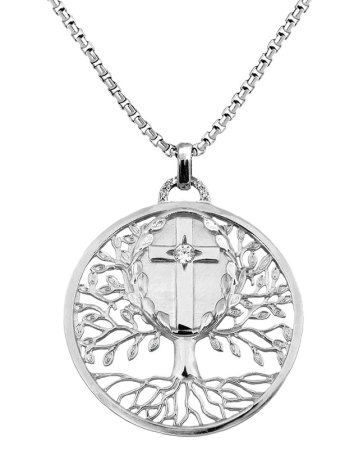 Tree of Life Silver Cross Pendant