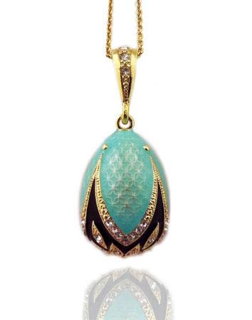 Turquoise Faberge Style Egg Pendant