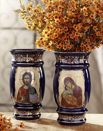 Two-Sided Greek Blue Flower Vase