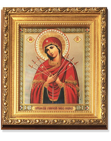 Virgin of Sorrows Gold-Framed Icon with Crystals