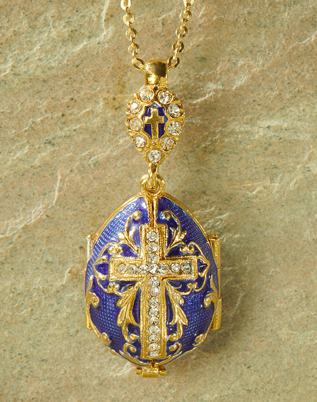 Virgin Mary egg pendant, blue