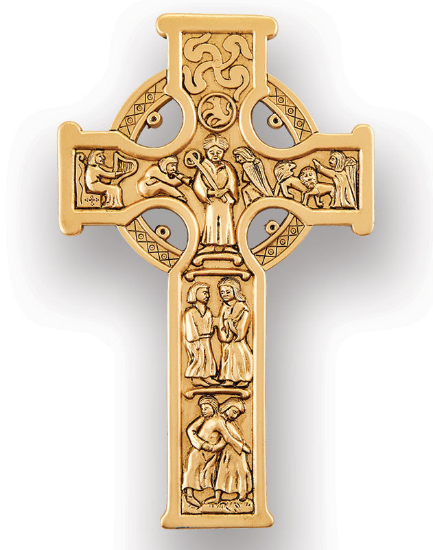 Antique Gold Finish Celtic Cross