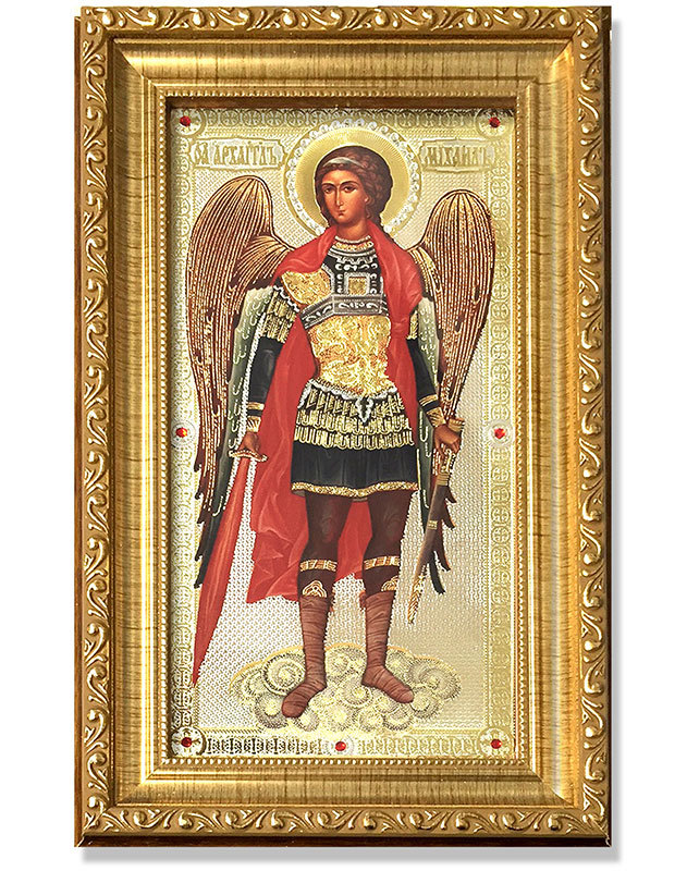 Archangel Michael Gold-Framed Icon with Crystals
