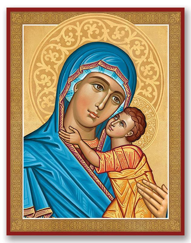 Blue Madonna portrait icon