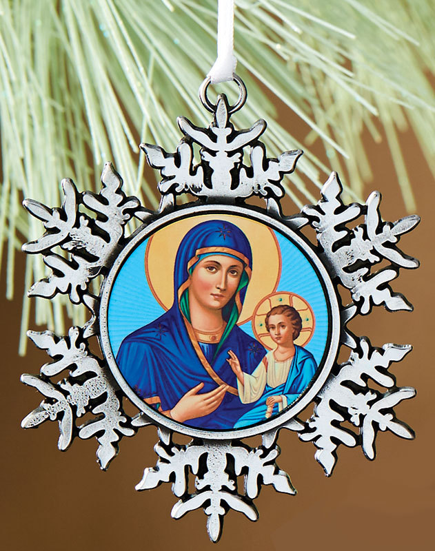 Blue Madonna snowflake ornament